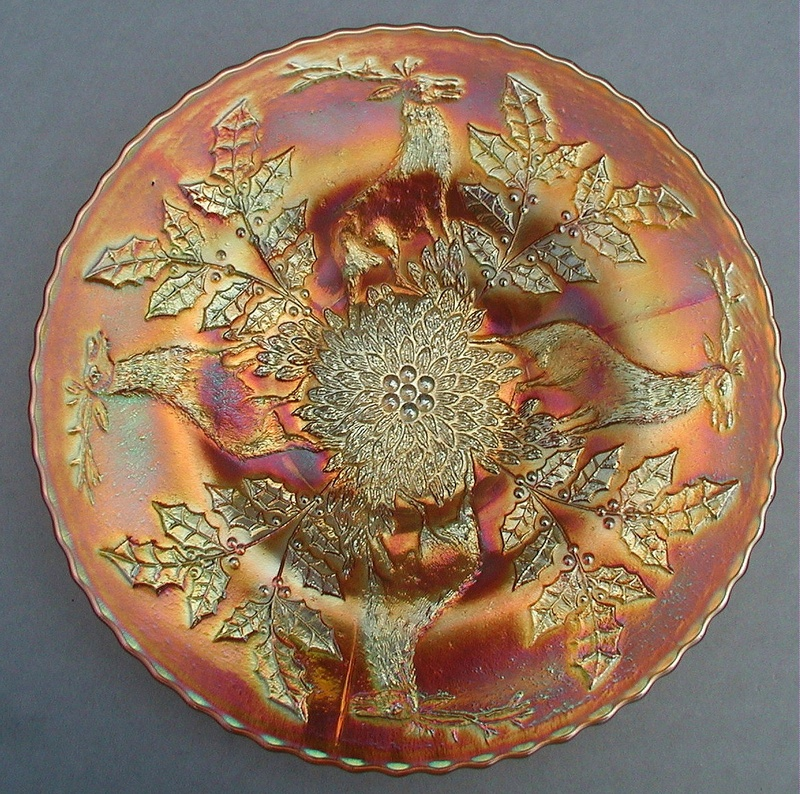 Stag and Holly plate in marigold