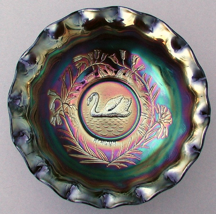 "Swan with Xmas bell flowers master 9"" bowl dark"