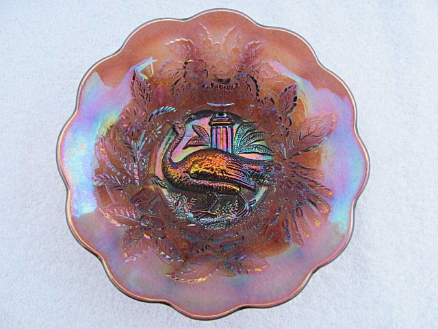 Peacock and Urn berry bowl, amethyst
