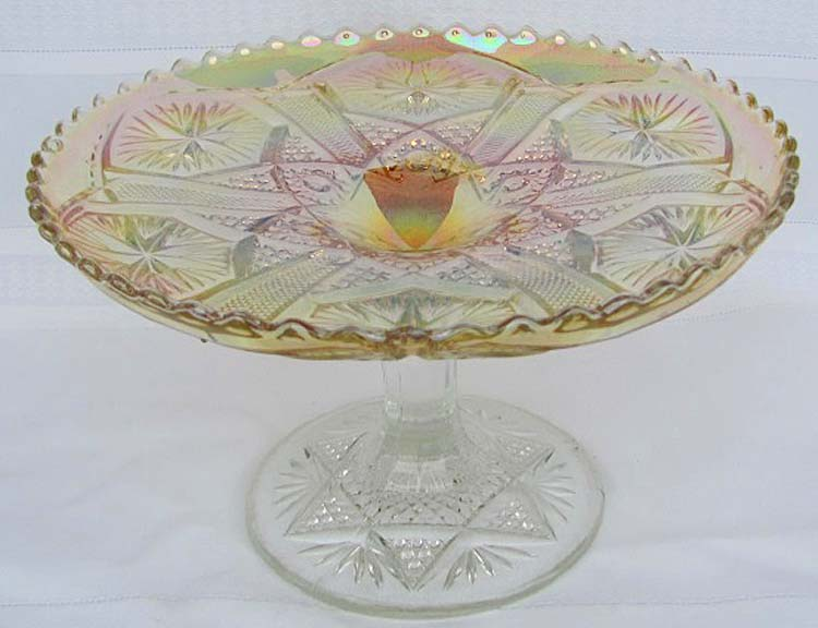 "8"" wide x 4 ¾"" tall Star and File cake stand,clambroth"