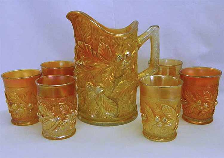 Acorn Burrs 7pc water set, marigold
