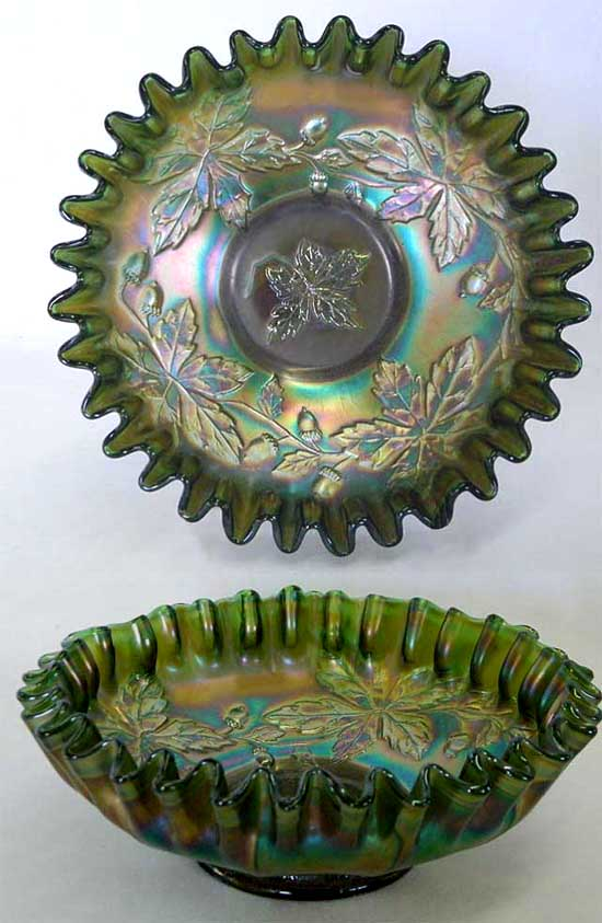 Autumn Acorns, candy ribbon edge bowl, green