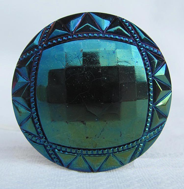 Border Path (or Squares and Triangles) button made into a hatpin