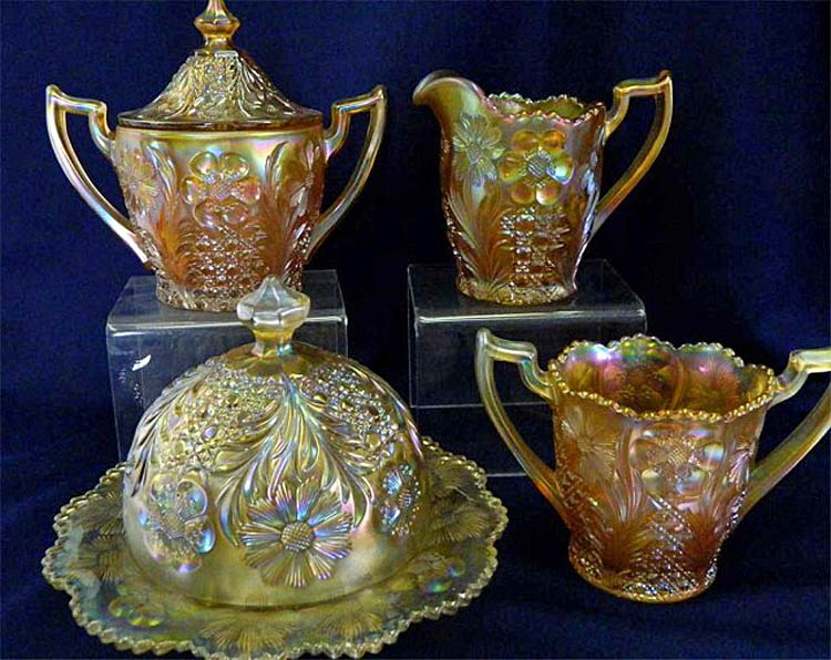 Cosmos and Cane 4pc. table set, honey amber, U.S. Glass