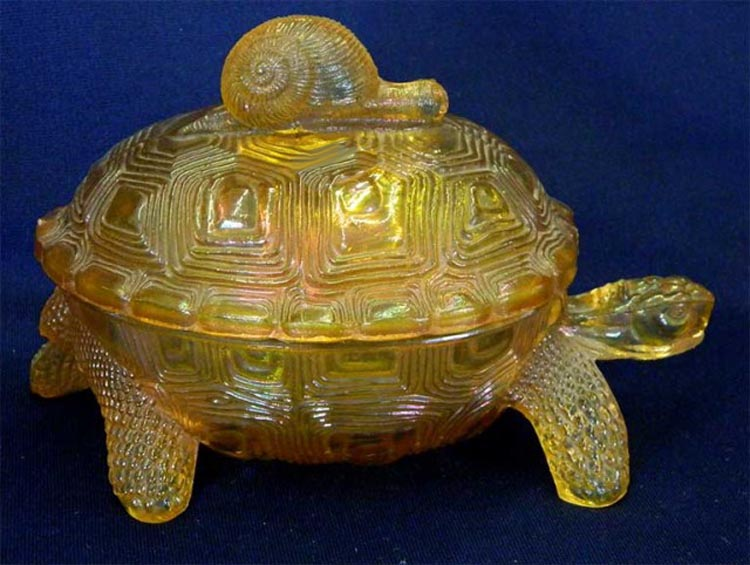 Covered Turtle with snail - marigold