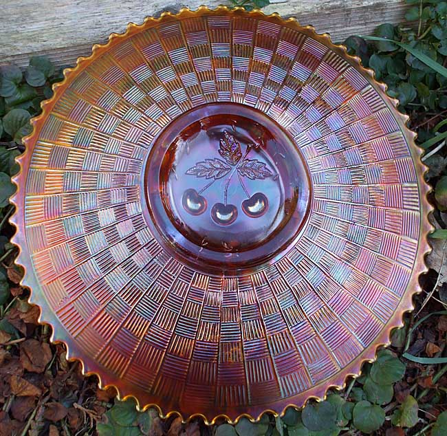 Three Fruits plate, showing basketweave back, amethyst