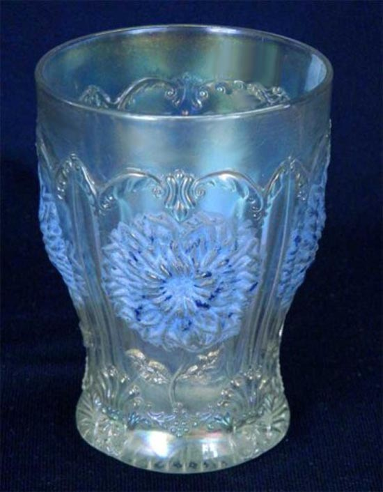 Dahlia tumbler, white, remains of blue stain, Dugan/Diamond