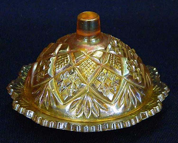 Diamond Fan child's butter dish - marigold