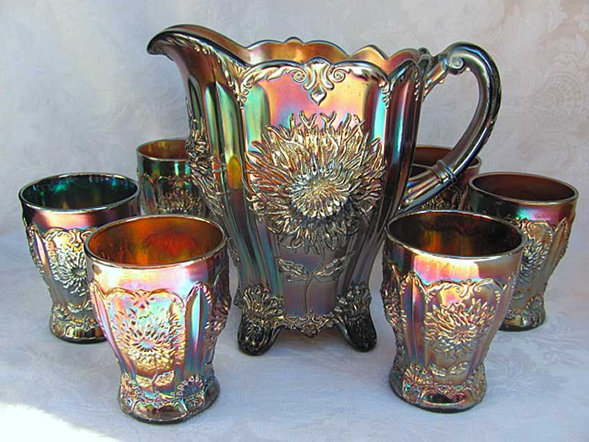 Dahlia water set, amethyst