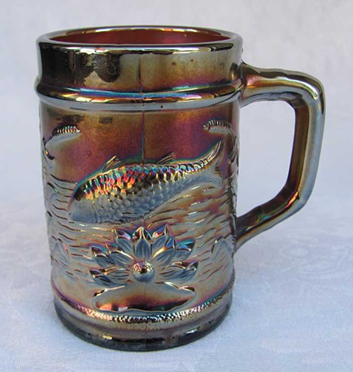 Dugan Fishermans  mug with base enameled Compliments of a Harrisburg PA Store, purple