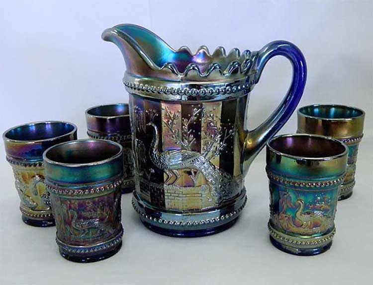 Dugan Peacock at the Fountain 6 pc. water set- blue