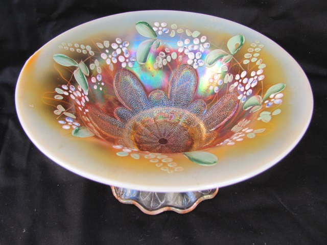 "Stippled Petal 8"" domed footed enameled flared bowl, peach opal"