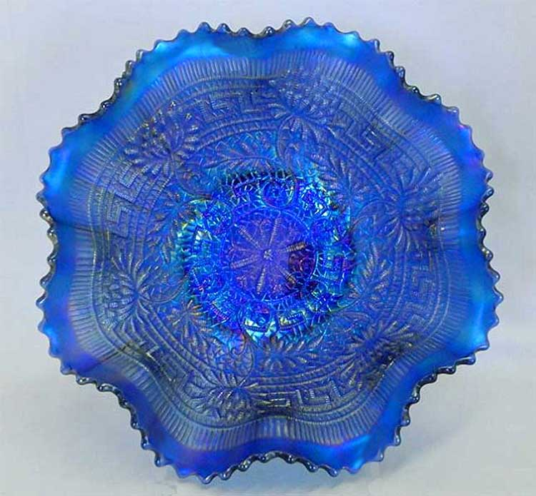 Embroidered Mums ruffled bowl with ribbed blue