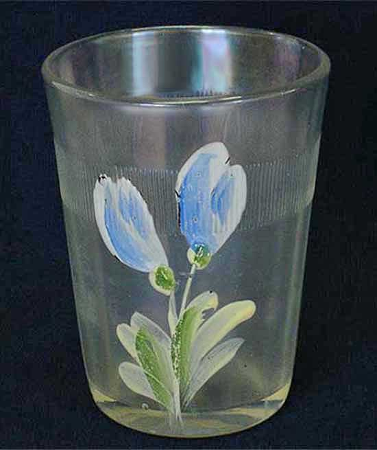 (Enameled) Dianthus/Crocus tumbler with prism band, white