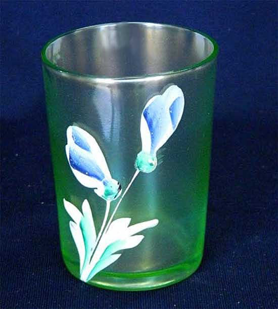 (Enameled) Dianthus/Crocus tumbler, ice green