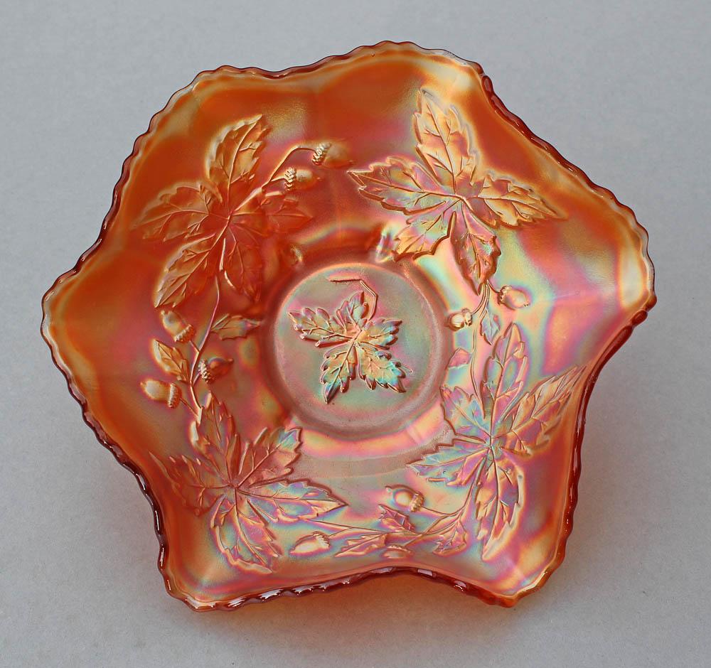 Autumn Acorns ruffled bowl, marigold
