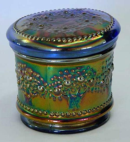 Orange Tree powder jar, blue