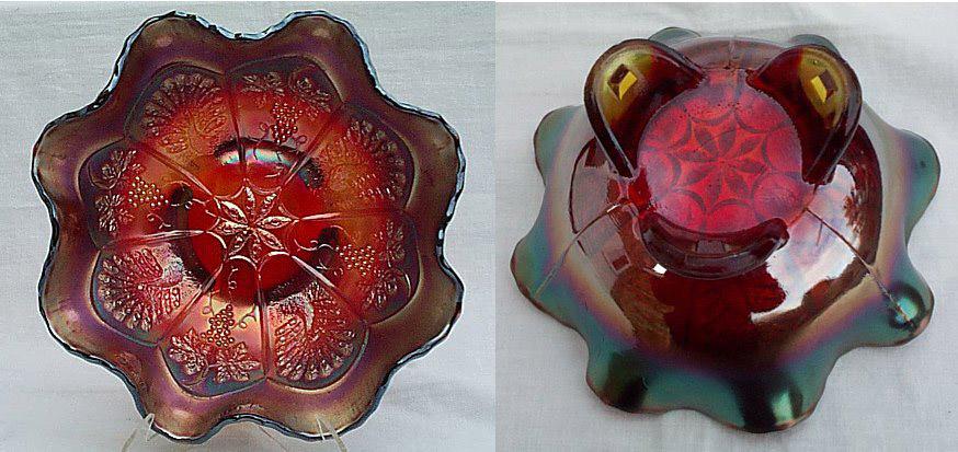 Peacock and Grape ruffled bowl, red