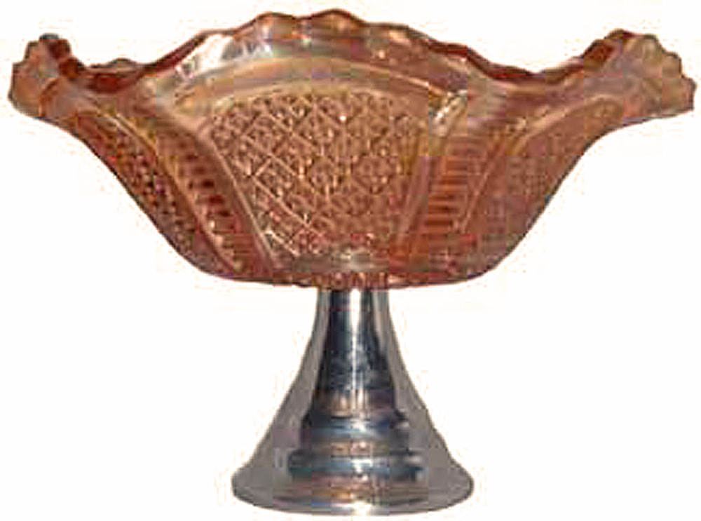 Hans-Diamond Shield bowl on metal stand -Sowerby