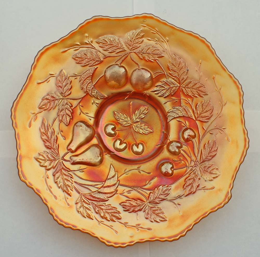 Three Fruits plate, 12 sided edge, marigold