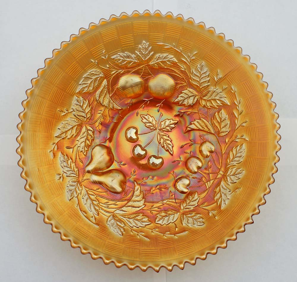 Three Fruits plate, basketweave back, marigold