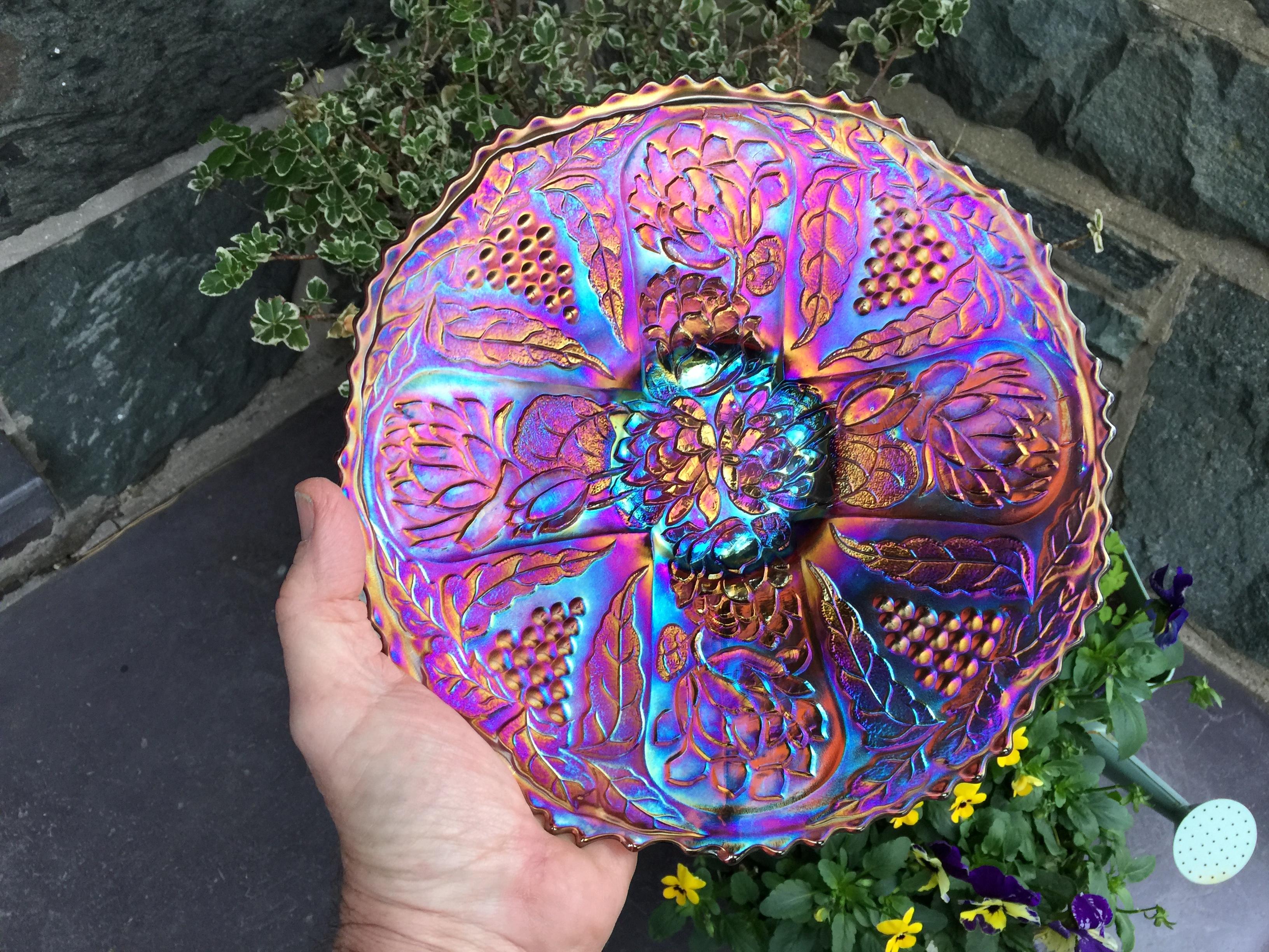 Lotus and Grape amethyst plate