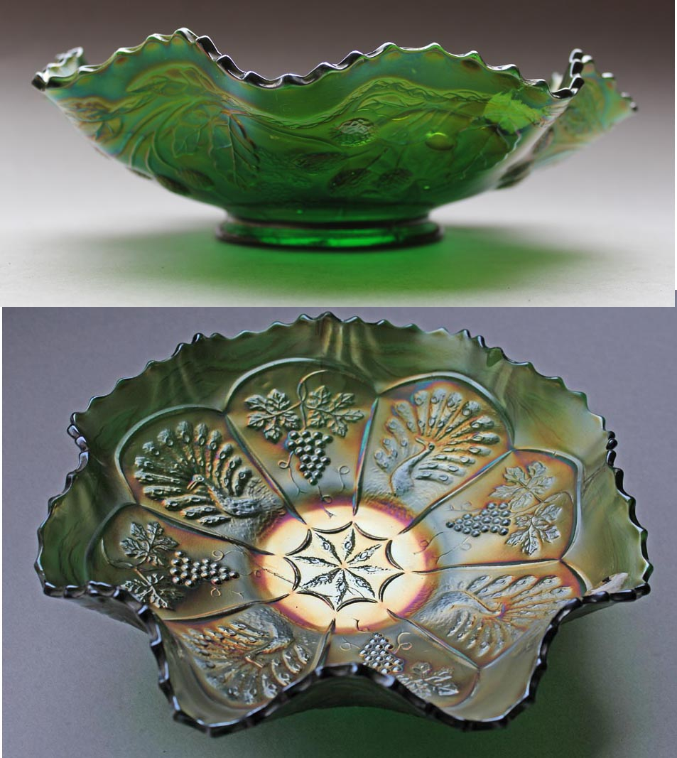 Peacock and Grape ruffled bowl, green