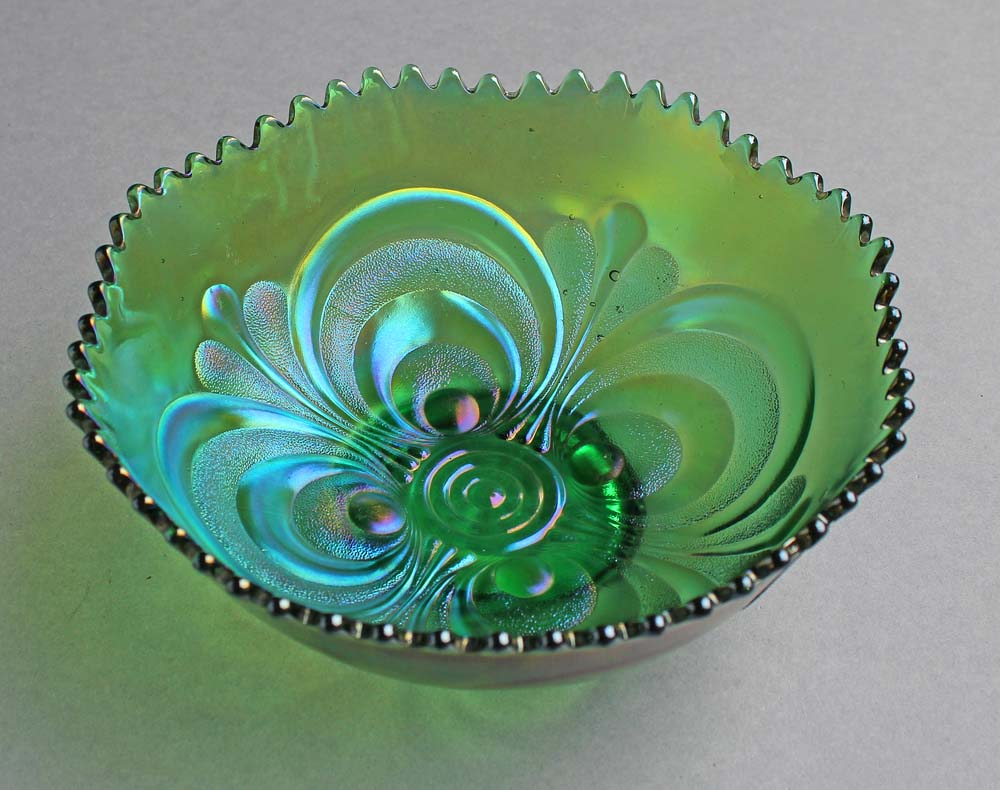 Scroll Embossed deep round bowl, green