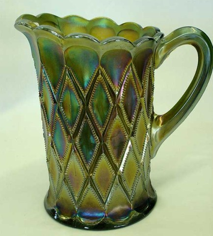 Millersburg Diamonds water pitcher, green