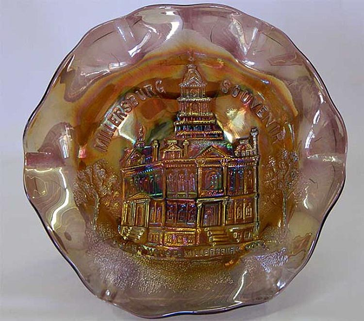 MILLERSBURG, Court House ruffled bowl, amethyst