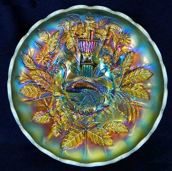 Peacock at Urn master ice-cream shape bowl in aqua opal