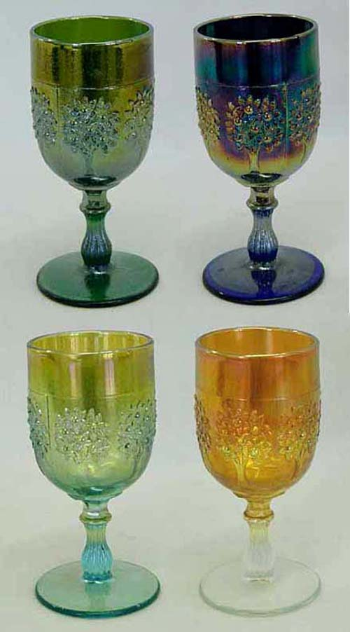 Orange Tree wine glass, green,blue,aqua,marigold