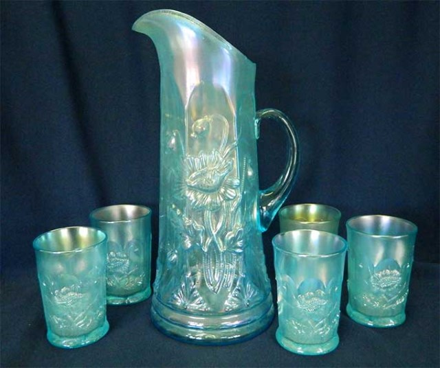 Oriental Poppy ribbed 6 pc. tankard water set, ice blue