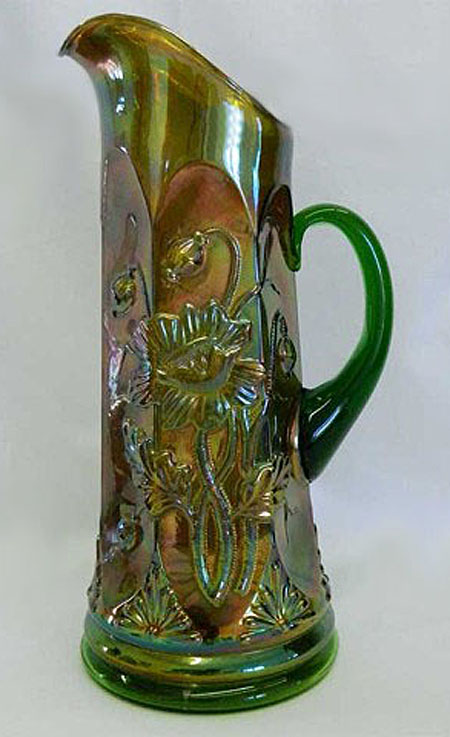 Oriental Poppy tankard water pitcher, green