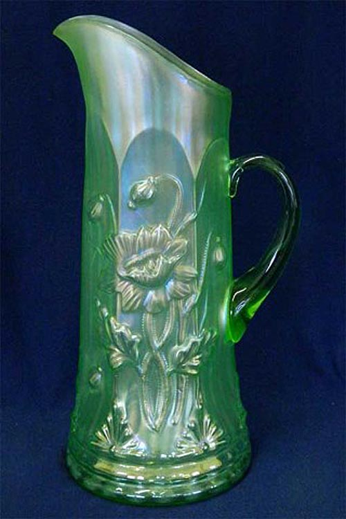 Oriental Poppy tankard water pitcher, ribbed, ice green