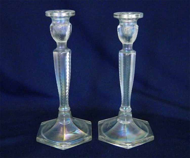 "Pair of Colonial #695 8½"" white etched base, light iridescence"