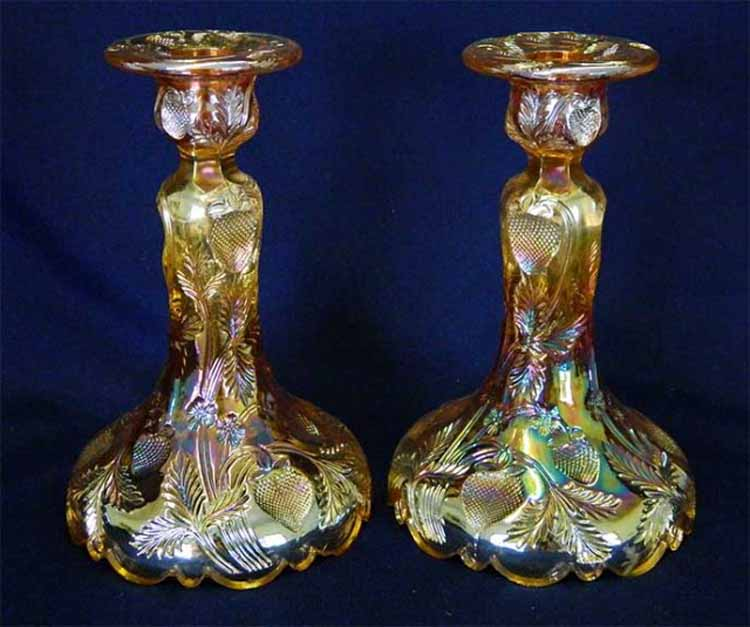 Pair of Inverted Strawberry candlesticks marigold