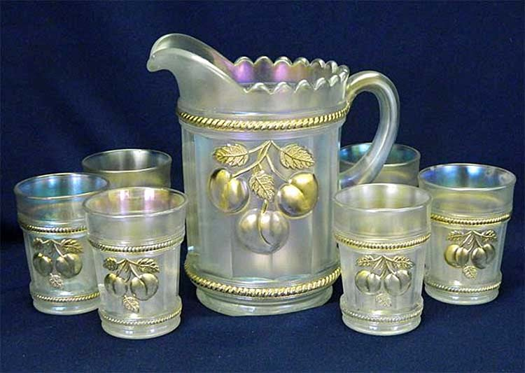 Peach 7 pc. water set - white with gold