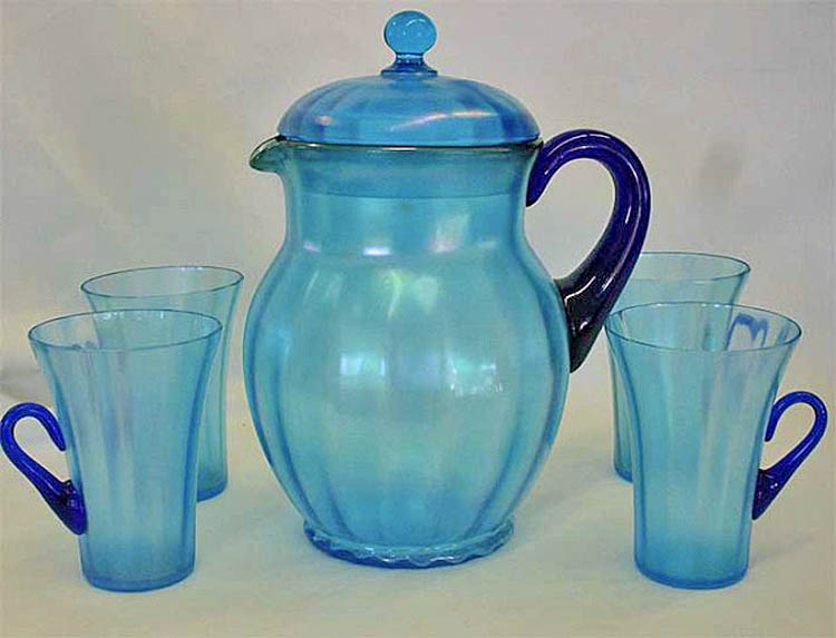 Rib Optic 5 pc. water set with lid - celeste blue