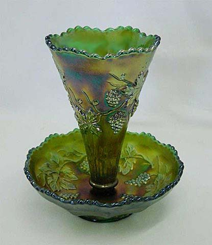"Vintage larger 6"" epergne - green"
