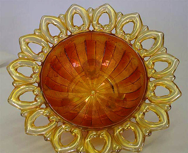 Wild Rose Open Edge bowl - marigold, flat rays interior