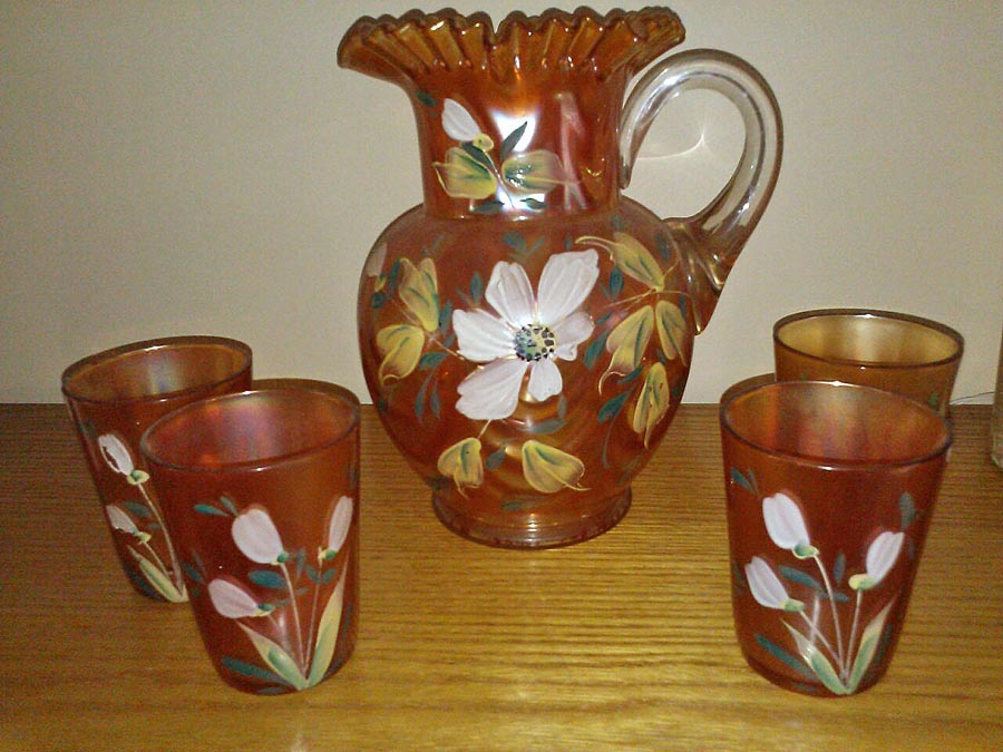(Enameled) Magnolia and Drape, with Freesia tumblers?