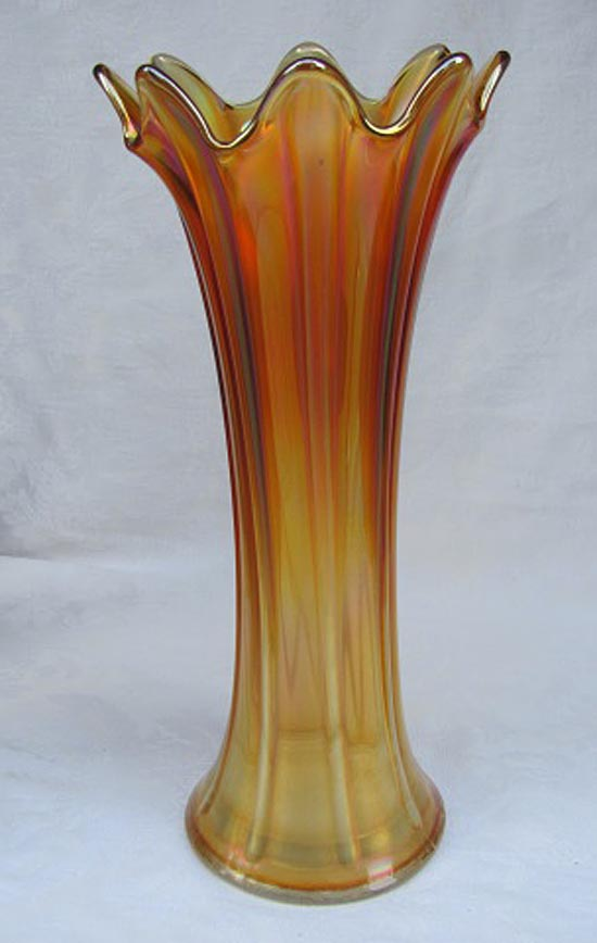 "Thin Rib 13 1/2"" tall 4"" base mid size vase, marigold"