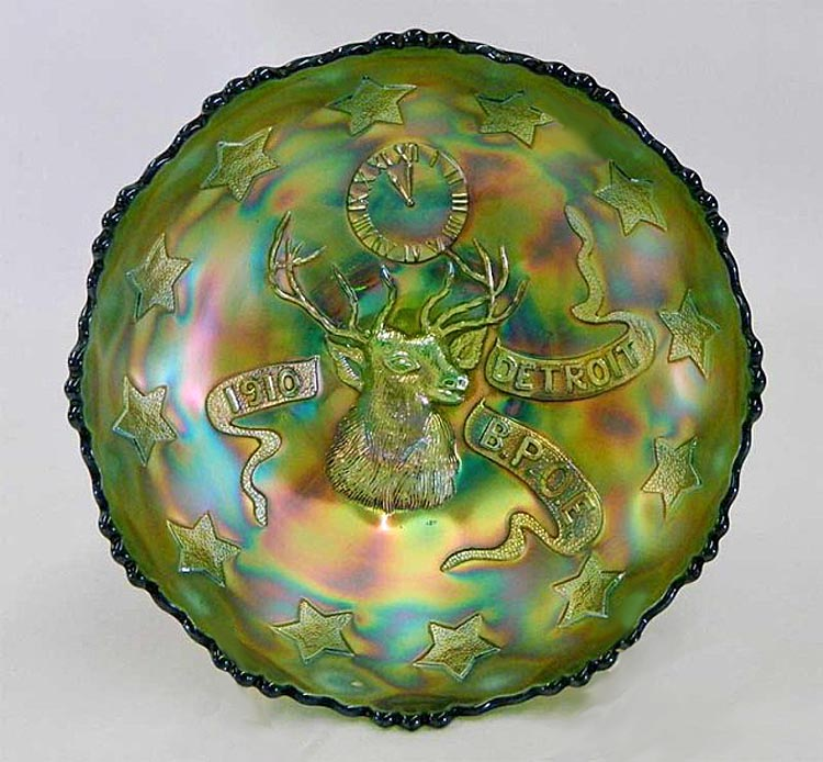 FENTON, 1910 Detroit BPOE Elks, Ice cream shaped bowl -green