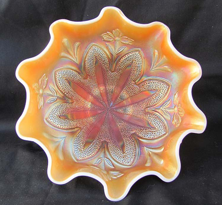 "Border Plants, 7 3/4"" domed 10 ruffled bowl, peach opal"