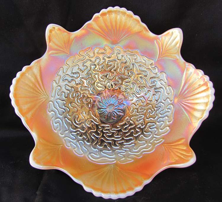 "Soutache 8 1/2"" domed deep flared plate, floral ext, peach opal"
