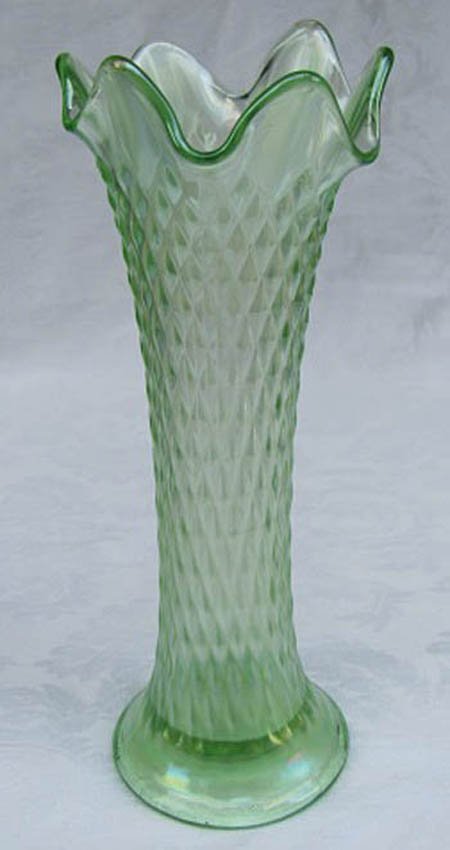 "Diamond Point 8 1/4"" vase in ice green (light iridescence)"