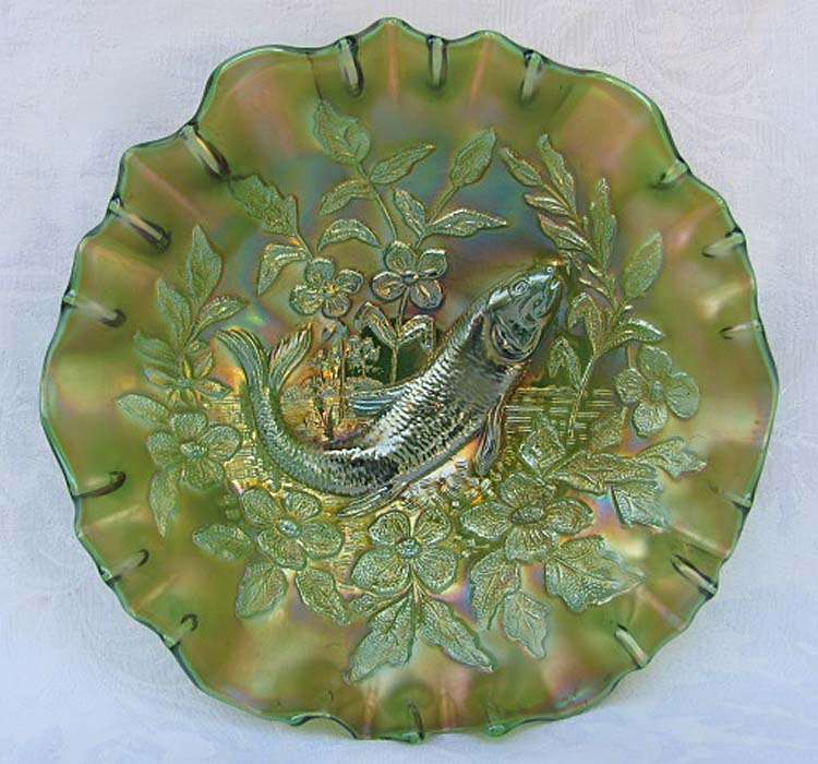 Trout and Fly 3 in 1 edge bowl in green satin