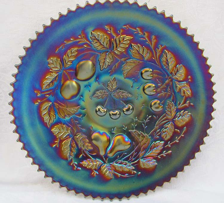 "Three Fruits 9 1/4"" plate, with basketweave back, purple"