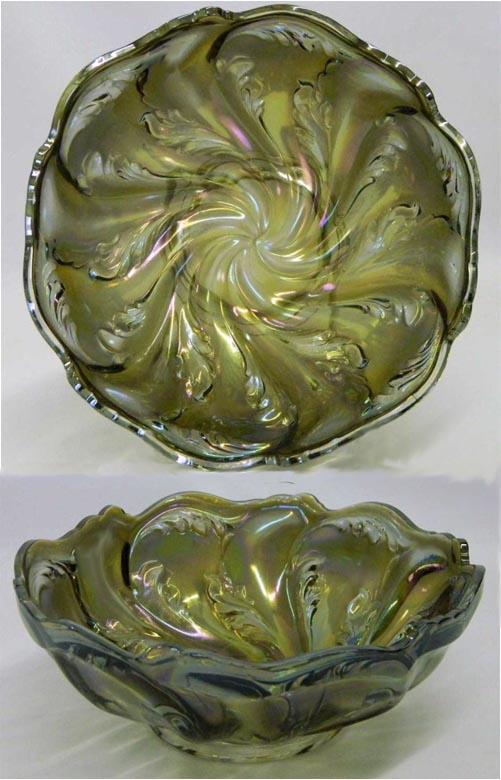Acanthus deep round bowl, smoke